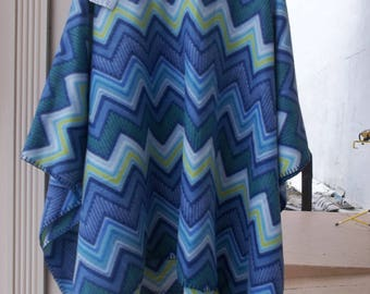 Ladies poncho in Blues and light green fleece poncho home sewn  in a smoke and pet free shop made in America great for those cool nights