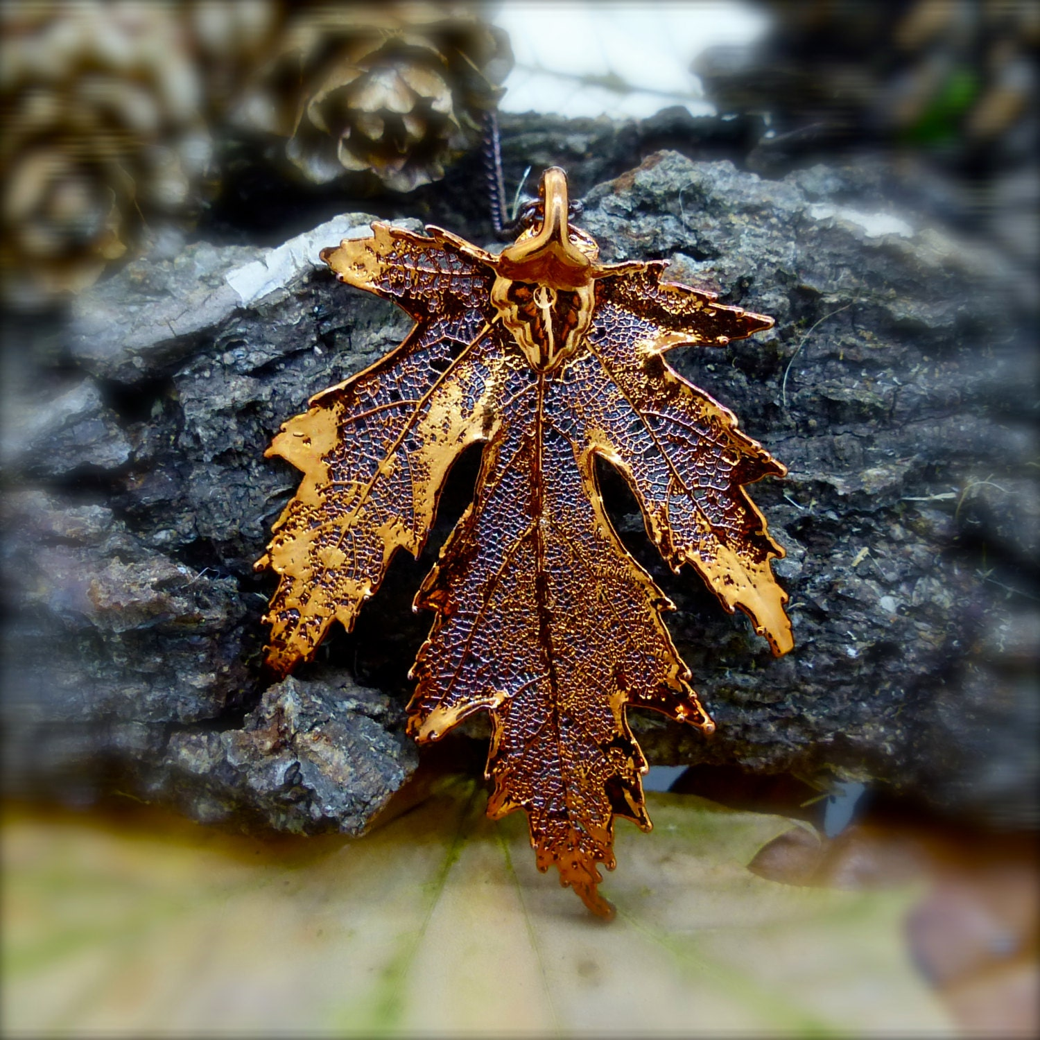Real Silver Maple Leaf Pendant Red Copper Plated Tree Autumn