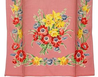 Vintage Towel, Vintage Pink Towel, Floral Towel, Pink Flower Towel, Daffodil, Kitchen Towel, Dish Towel