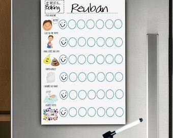 Boys Potty Routine, Magnet Fridge Chart, Boys Potty Chart, Dry Wipe Chart, Use stickers, Or Dry Erase Pen, Toilet Training, Toddlers