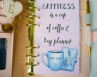 Happiness Is A Cup Of Coffee/Tea & My Planner Personal, A5 and Pocket Size Planner Dashboards