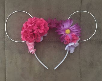Pink and purple mouse ears flowered headband