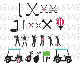 Golf Monogram SVG, golf split svg, golf clipart svg, ready to cut files for Cricut, Silhouette etc, also in png, eps & DXF