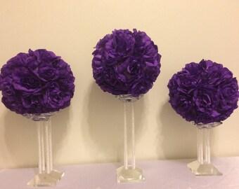 """Four (8"""") Kissing Balls, Pomander Ball, Flower Ball, Rose Ball, Wedding Flowers, Wedding Centerpieces, Purple Wedding, Ball Centerpieces"""