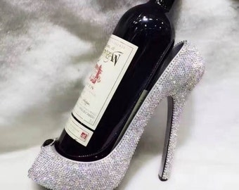 Bling Sparkle Rhinestone High Heel Shoe Wine Bottle Holder with a Glamorous and Sophisticated Look, for Housewarming, Engagement, or Events