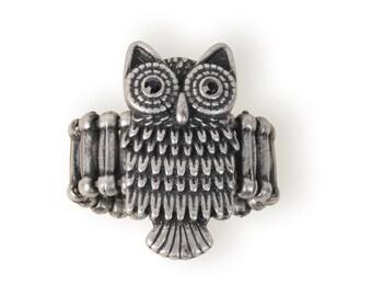Owl Ring w/ Black Crystals (STEAM241)