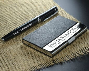 Personalized Leather Engraved Monogrammed Business Card Holder with Pen, Groomsmen, Graduation, Christmas Holiday Gift