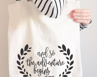 And so the adventure begins Bridal Tote Bag - Bridesmaid Bag -  Adventure Tote - Bridesmaid Tote Bag -Wedding Tote Bag - Bridal Party Gift