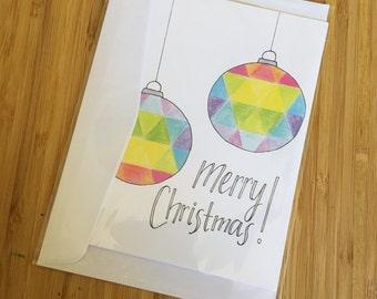 CARD - Merry Christmas Bauble Design - Christmas Greeting Card