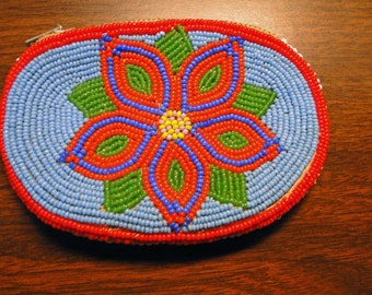 """Beaded Coin Purse Vintage Beaded Coin Purse - 2 Designs - Zipper Opening - Tiny Bead Work - 3 1/4"""" X 4 1/8"""" - Great Find!"""