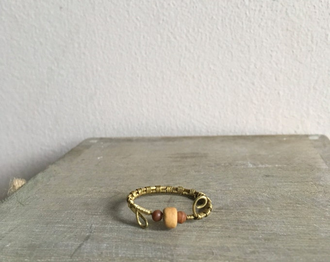Custom Size Gold Coloured Ring With Wooden Beads