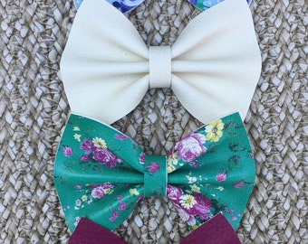 Purple Faux Leather Bow, Floral Leather Bow, Teal Floral Hair Bow, Blue Hair Bow, Blue Floral Hair Bow, Spring Floral Hair Bow, Spring Bow