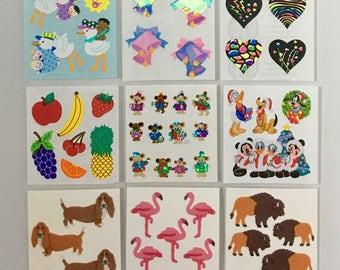 Vintage Sandylion Sticker Lot. Hearts, Flamingos, Fruit, Bells, Dogs