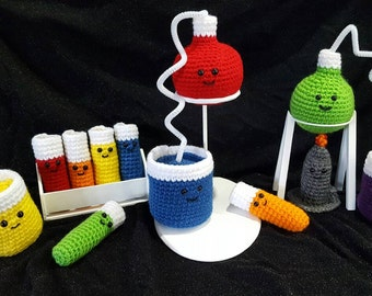 Crocheted Large Chemistry Set             Crochet Lab Set