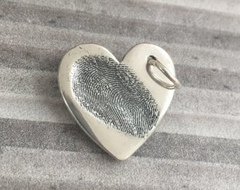 Hand crafted large finger print charm and silver chain
