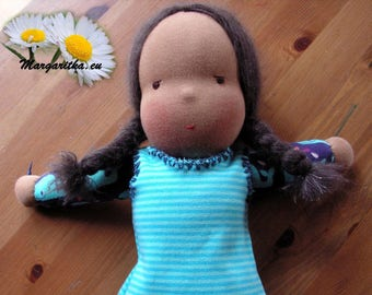 Beth, large, soft, supple black cuddle doll, cotton doll, large african steiner girl doll, waldorf ethnic baby girl, toddler doll,
