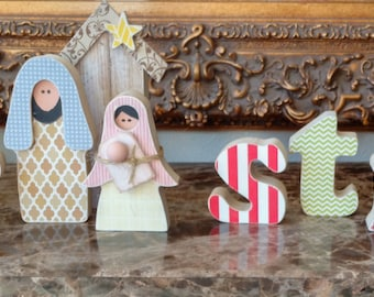 christmas unfinished wooden letters with nativity insert included diy wooden christmas decoration