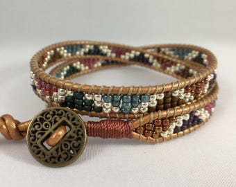 Reflection - Double Wrap Beaded Bracelet, Leather Wrap Beaded Bracelet, Unique Beaded Bracelet, Chan Luu inspired