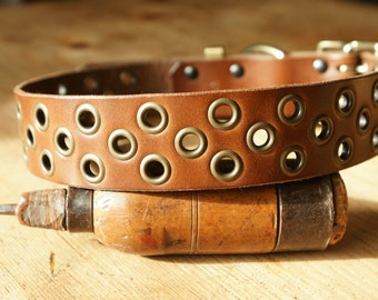 "Handmade leather dog collar made in France Urban Cam ""The 352 cappuccino"""