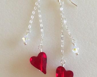 Valentine Heart Earrings. Red Swarovski Crystal Hearts, Sterling Silver Red Heart Dangles, Sweetheart Earrings, Red Heart Earrings