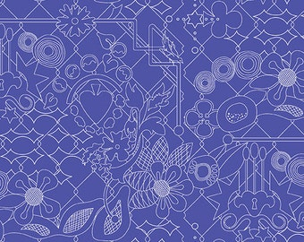 Sunprint 2017 by Alison Glass Overgrown in Sapphire A-8482-B blue cotton fabric andover modern material quilting supplies