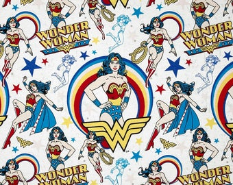 Wonder Woman Flannel from Camelot Fabrics, Cotton, dc comics, rag quilt, girl power, by the, metre, yard, 1 inch squares, 1""