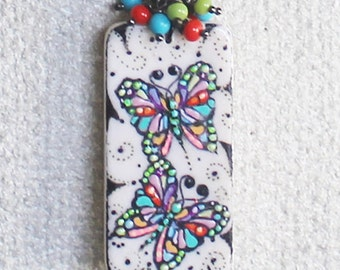 Handpainted domino, butterfly pendant, wearable art, butterfly necklace, nature necklace, gift for girl, handpainted jewelry