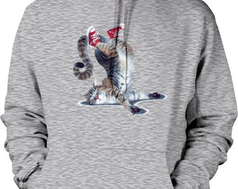 Cool Cat Standing on His Head with Sneakers Hooded Sweatshirt, NOFO_00453