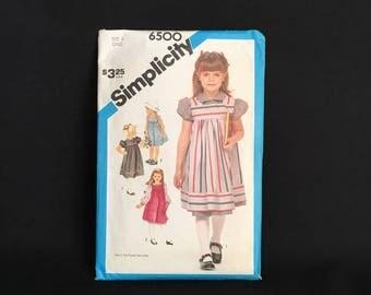 Simplicity pattern girls size 6 dress sundress jumper empire waistline puff sleeves vintage Retro MCM 1984