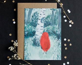 POSTCARD - birdhouse - high quality print - envelope included - A6 - girl - redhead - fairy tale