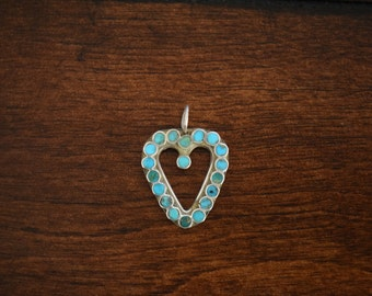 Vintage Turquoise Heart Shape 925 Silver Pendant, Used