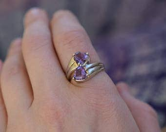 Purple Heart Gemstone 925 Silver Wrap Ring, US Size 7.0, Used Vintage Jewelry