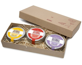 Gift of the Year 2017!! Mother's day Seedball Gift Box - Bee, Butterfly & Poppy Seedball Tins