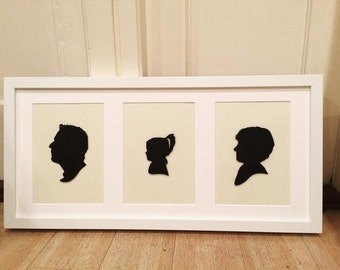 Custom Design Family Silhouette Portrait with Paper / Card Precision Cut Silhouettes in Triple Box Frame