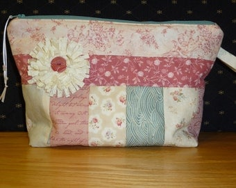 Project bag, FREE SHIPPING!!!, Pieced peach and salmon color, Cosmetic bag, Kindle or e reader bag, knitting bag