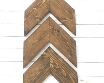 Free Same Day Shipping~Chevron Arrows~Dark Walnut Stain~Set of 3