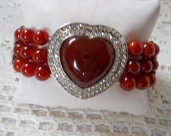 Carnelian Stone And Rhinestone Bracelet #104