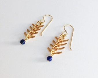 Fishbone Lapis Lazuli Brass Earrings