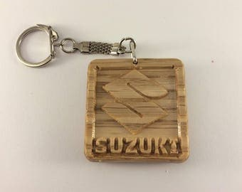 SUZUKI Car Logo Wooden Keyring Keychain Fob * Can be PERSONALISED *