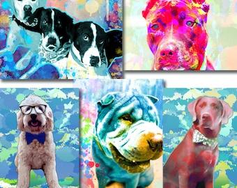 Custom dog Portrait, Custom pet portrait, Pop art dog portrait, Custom dog pop art, watercolor dog art, Dog portrait from photo, Pet loss