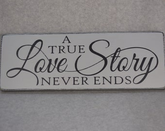 Rustic Distressed A True Love Story Never Ends Reclaimed Pallet Wood Sign, Wedding Decor, Paris Grey and Black