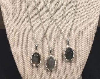 Silver labradorite necklace