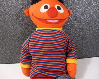 1975 Plush Knickerbocker Ernie Doll Vintage Sesame Street Stuffed Toy