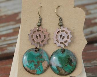 Steampunk Patina Penny Earrings