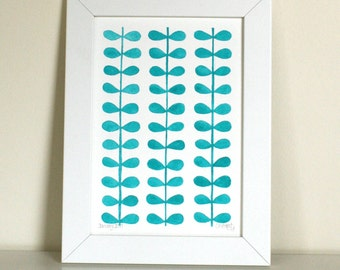 Original Watercolour Painting - Leaf illustration - Turquoise Wall Art - Turquoise Leaf - Blue Leaf - Botanical Art - Leaves Wall Art