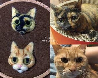 Personalized cat brooch- needle felted pet portrait brooch