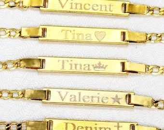 Baby Bracelet, Gold baby ID bracelet, 18kt Gold Fill, Custom name bracelet, Personalized name bar bracelet