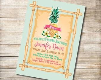 Luau Pineapple Baby Shower/Birthday Invitation