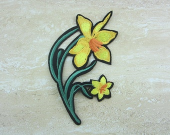 Embroidered Patches, Iron On Patches, Yellow Flower Appliques
