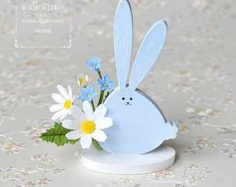 Cute Bunny Animal lover gift Summer flower Rabbit lover gift Bunny miniature animal Woodland animal figurines art nursery decor gift for her